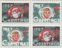 画像1: 【アメリカ】クリスマスシール1957 4枚