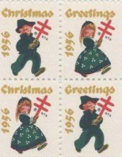 画像1: 【アメリカ】クリスマスシール1956 4枚
