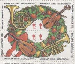 画像1: 【アメリカ】クリスマスシール1991 4枚