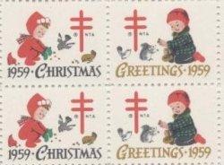 画像1: 【アメリカ】クリスマスシール1959 4枚