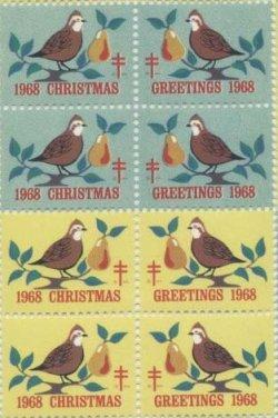 画像1: 【アメリカ】クリスマスシール1968 8枚